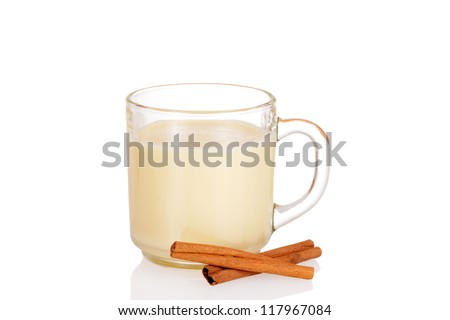 Fresh mug of eggnog - stock photo