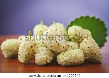 fresh mulberries - stock photo