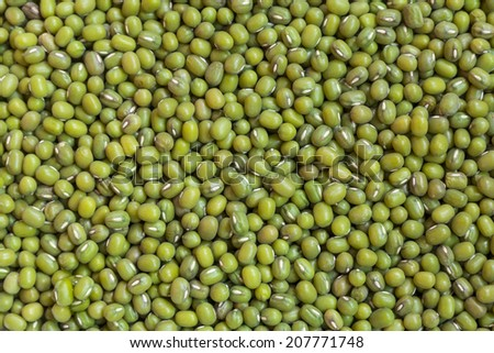 fresh mung bean grams close up view