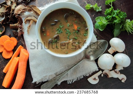 Fresh mushroom soup in a bowl with parsley and carrot - stock photo