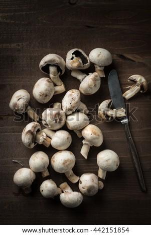 Fresh Mushrooms food background - stock photo