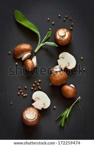 Fresh mushrooms with spices and herbs on a black board.