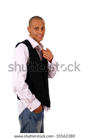 Fresh'N'Happy Young man in stylish business fashion - over white background. - stock photo