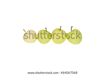 Fresh natural green apple in line on a white background