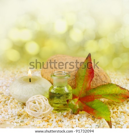 Fresh natural green spa scene with herb essence in a glass bottle, sandstone and a beautiful leaf - with copy space for your message