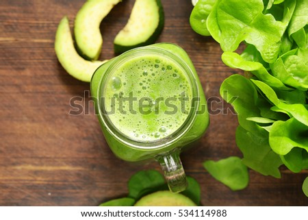 Fresh natural organic green smoothie with avocado.