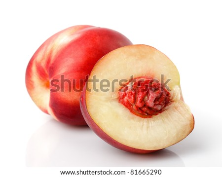 Fresh nectarine isolated on white background closeup