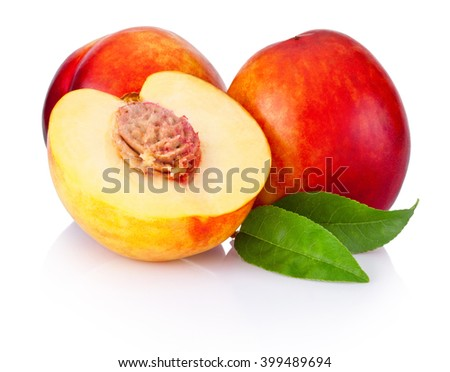 Fresh nectarines fruit isolated on a white background - stock photo