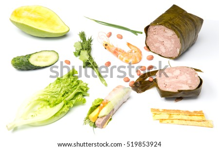 fresh nem rolls with shrimps ingredients isolated