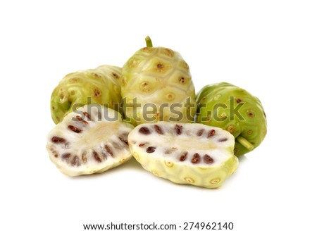 fresh noni fruit on white background