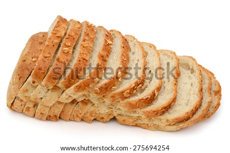 fresh oat bread slices isolated on white  - stock photo