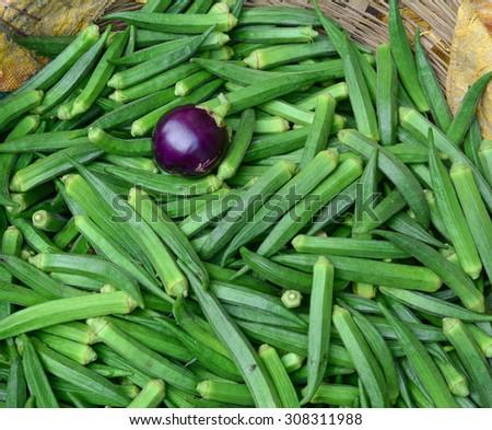 Fresh okra at the farmer's market in Gaya, India. - stock photo