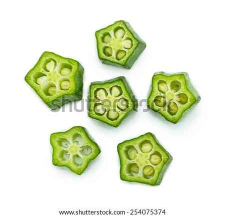 fresh okra slice isolated on a white background - stock photo