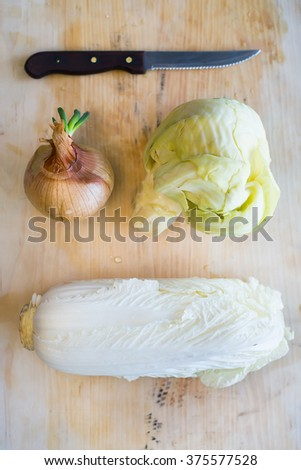 Fresh onion and cabbage on the cutting board