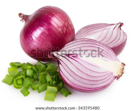 fresh onion isolated on white background - stock photo