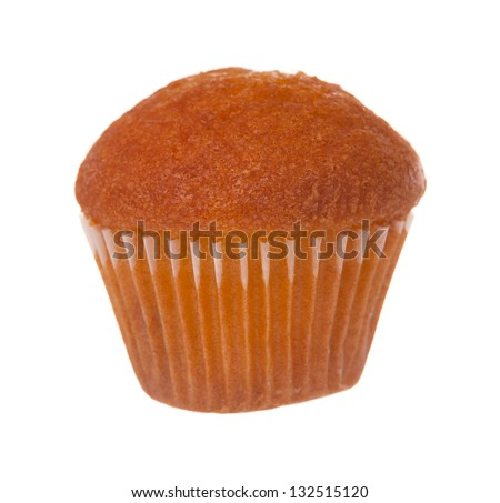 Fresh only baked small cupcake isolated on white background - stock photo