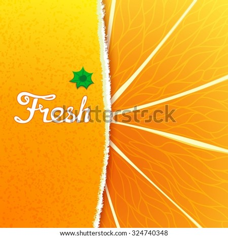 Fresh orange. Abstract creative background with any torn peel and the structure of the fruit