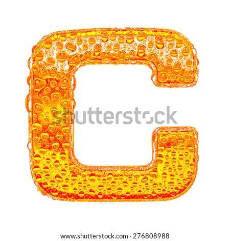 Fresh Orange alphabet symbol - letter C. Water splashes and drops on transparent glass - color of brandy , cognac, liquor, cola, beer or tea. Isolated on white