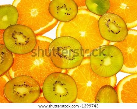fresh orange and kiwi - stock photo