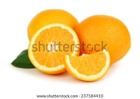 Fresh orange fruit isolated on white - stock photo
