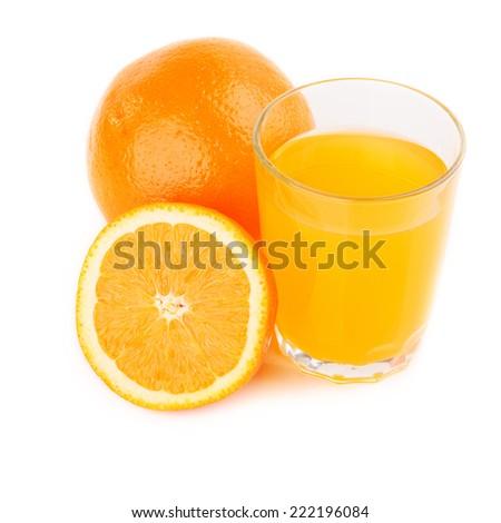 fresh orange fruits and juice isolated on white - stock photo