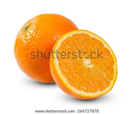 Fresh orange fruits rich with vitamins sliced isolated on white background - stock photo