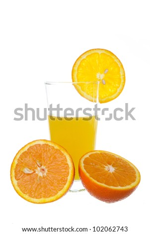 fresh orange juce in a glass isolated on a white