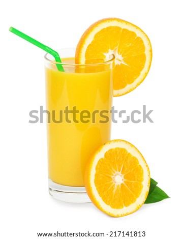 Fresh orange juice and slice of orange on white background