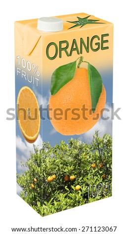 Fresh orange juice in beverage carton