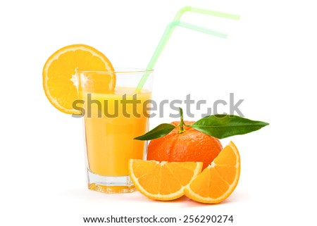 Fresh orange juice in glass on white background - stock photo