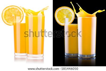 Fresh orange juice in glass with splash isolated - stock photo