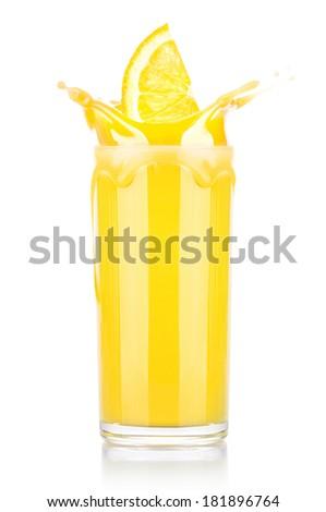 Fresh orange juice in glass with splash isolated on a white background - stock photo