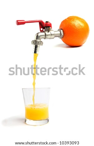 Fresh orange juice pouring straitght from the orange into a glass