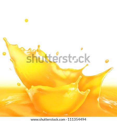 Fresh Orange juice splash making amazing waves and drops, Digital Painting - stock photo