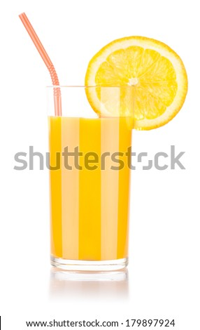 fresh orange juice with tasty citrus slice