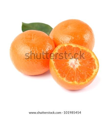 Fresh Orange Mandarins and Half with Leaf Isolated on White Background - stock photo