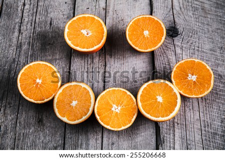 fresh, orange on  a wooden background. fruit - stock photo