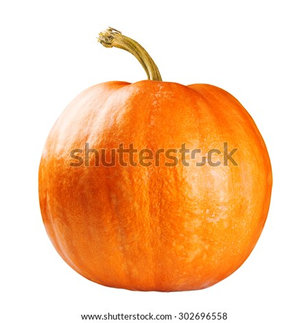 Fresh orange pumpkin isolated on white background - stock photo