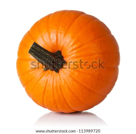 Fresh orange pumpkin isolated on white background. Top view - stock photo