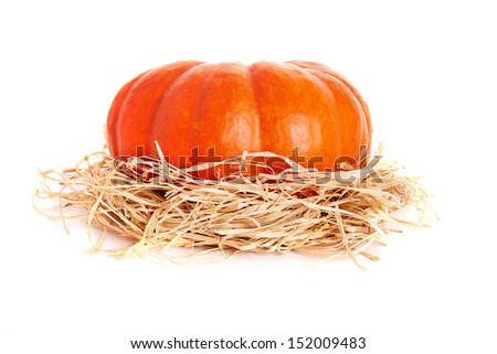 fresh orange pumpkin over white background