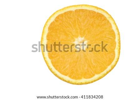 fresh orange slice on a white background - stock photo