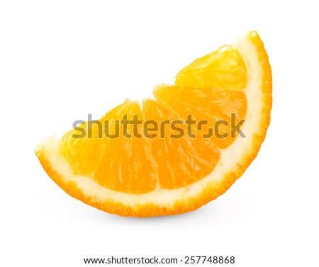 Fresh orange slice on white background  - stock photo