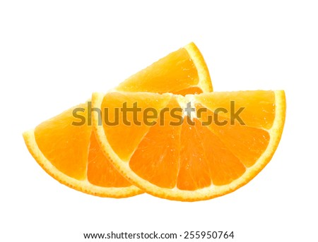 fresh orange slices isolated on white background - stock photo