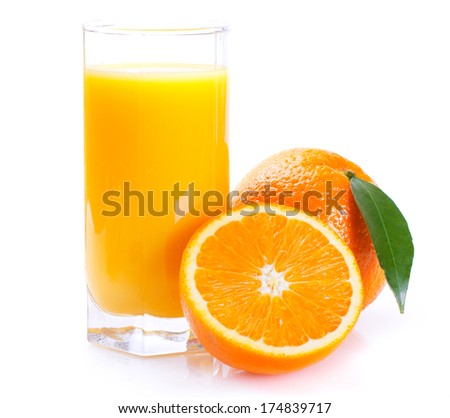 fresh orange with juice on white background