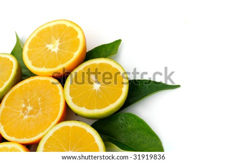 fresh oranges against white background