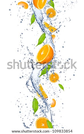 Fresh oranges falling in water splash, isolated on white background - stock photo