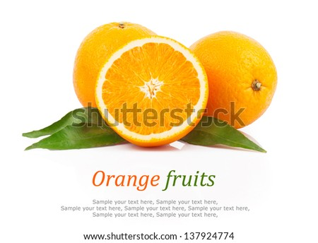 Fresh oranges fruit with green leaves & text, isolated on white background