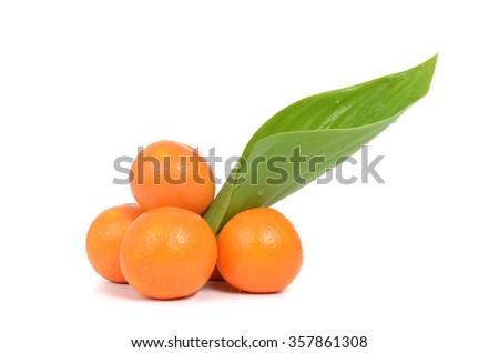 fresh oranges isolated on white background - stock photo