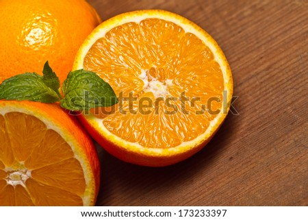Fresh oranges  on wooden table. vitamin C