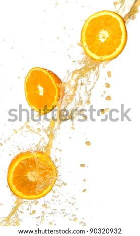 Fresh oranges with juice splash, isolated on white background - stock photo